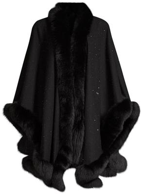 Fox Trimmed U-Cape With Sequins
