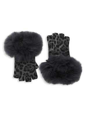 Leopard Print Fur Trim Fingerless Gloves