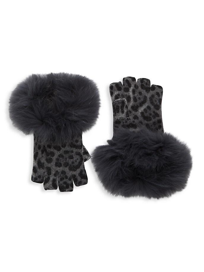 Leopard Print Fur Trim Fingerless Gloves
