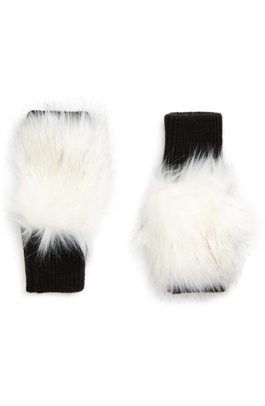 Long Hair Faux Fur Mittens