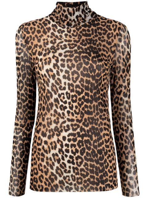Leopard Print Mesh Turtleneck