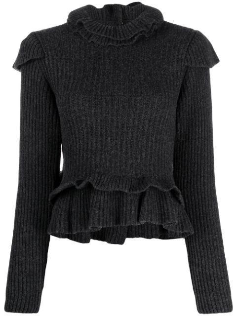 Ruffle Rib Knit Sweater Item # K1478