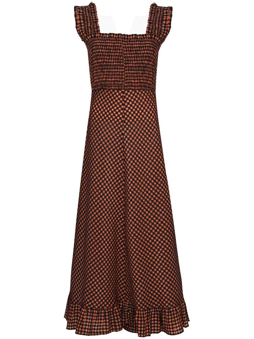 Seersucker Gingham Maxi Dress