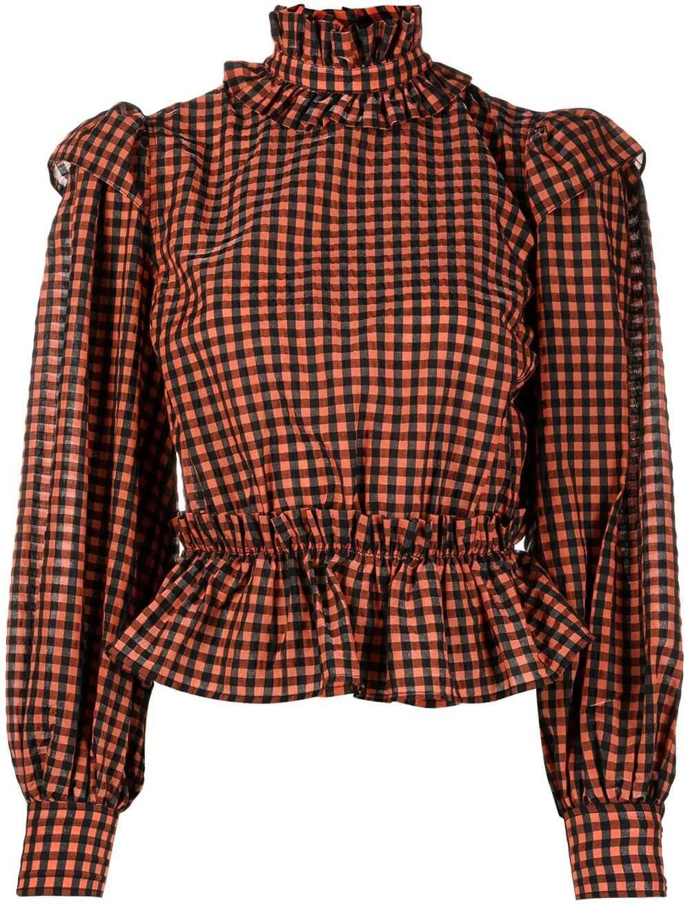 Seersucker Gingham Blouse