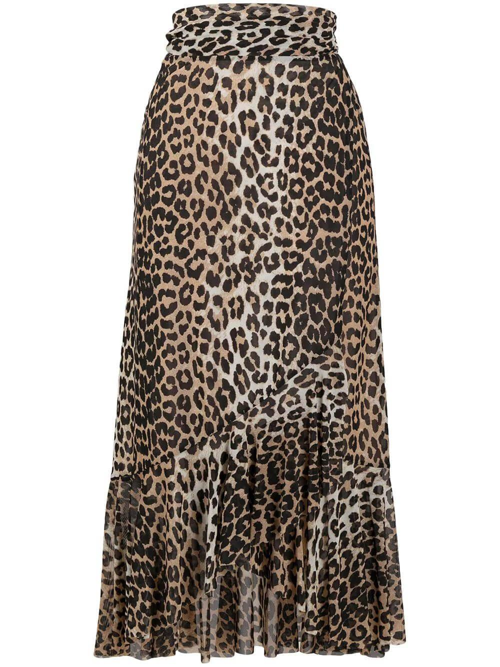 Leopard Print Mesh Wrap Skirt