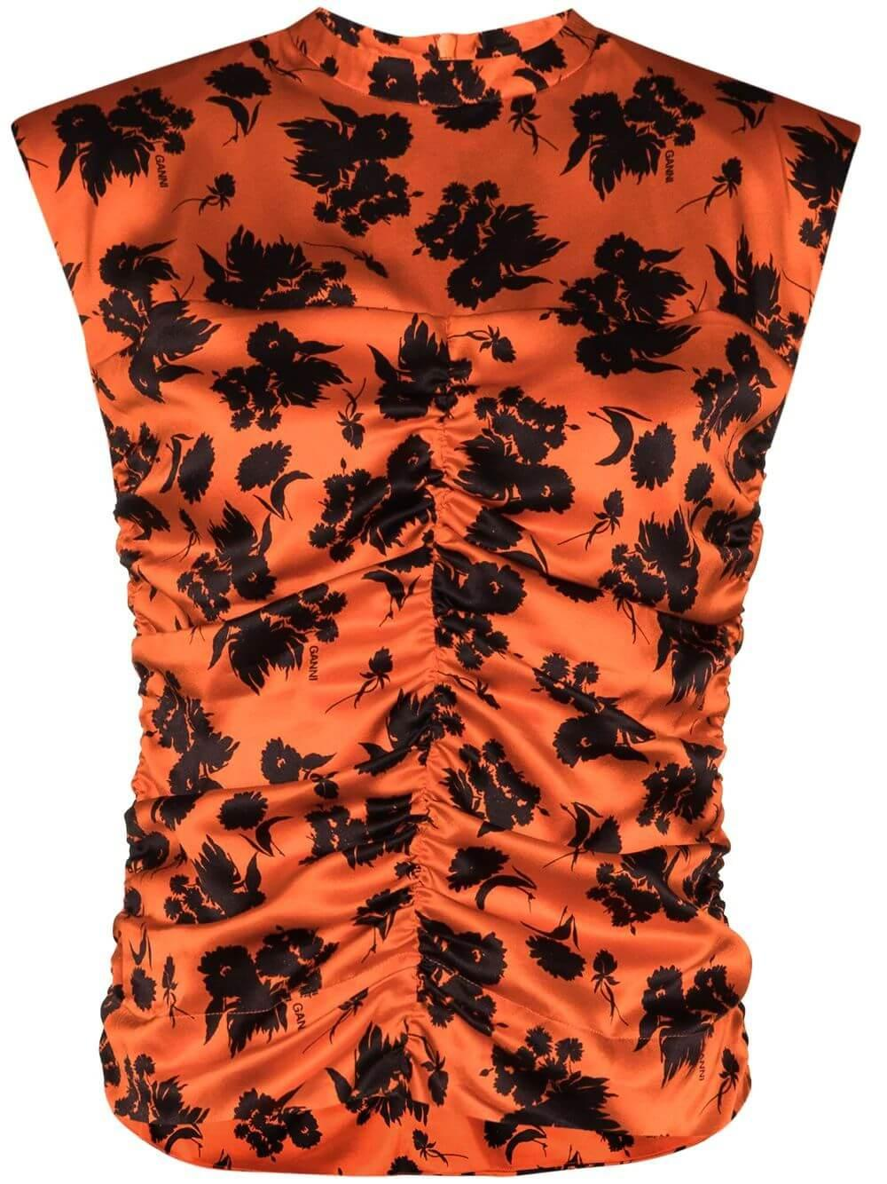 Floral Print Ruched Blouse