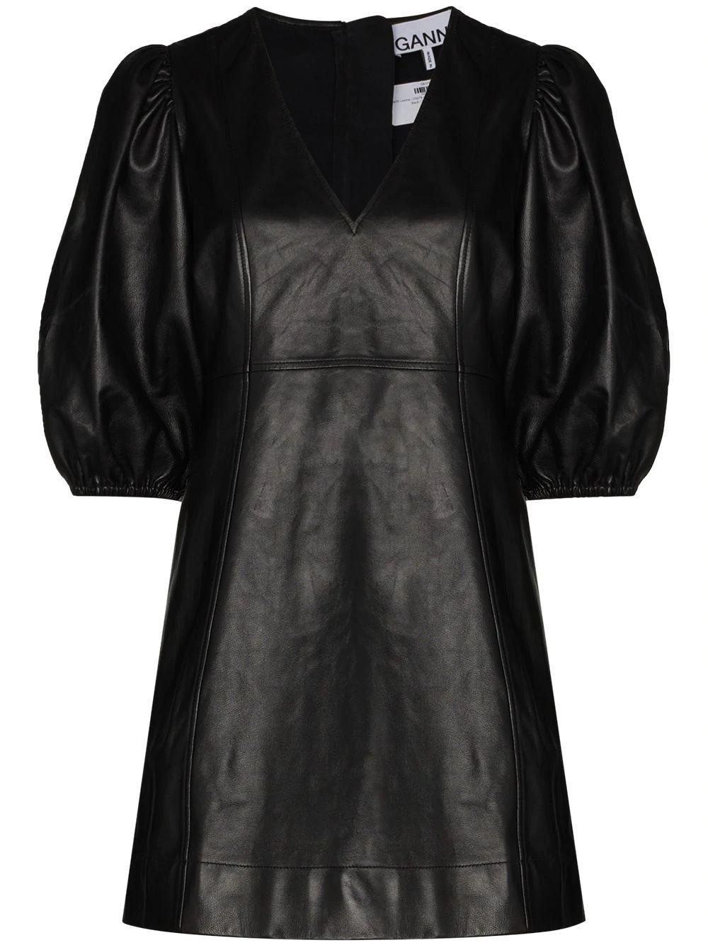 Puff Sleeve Leather Dress