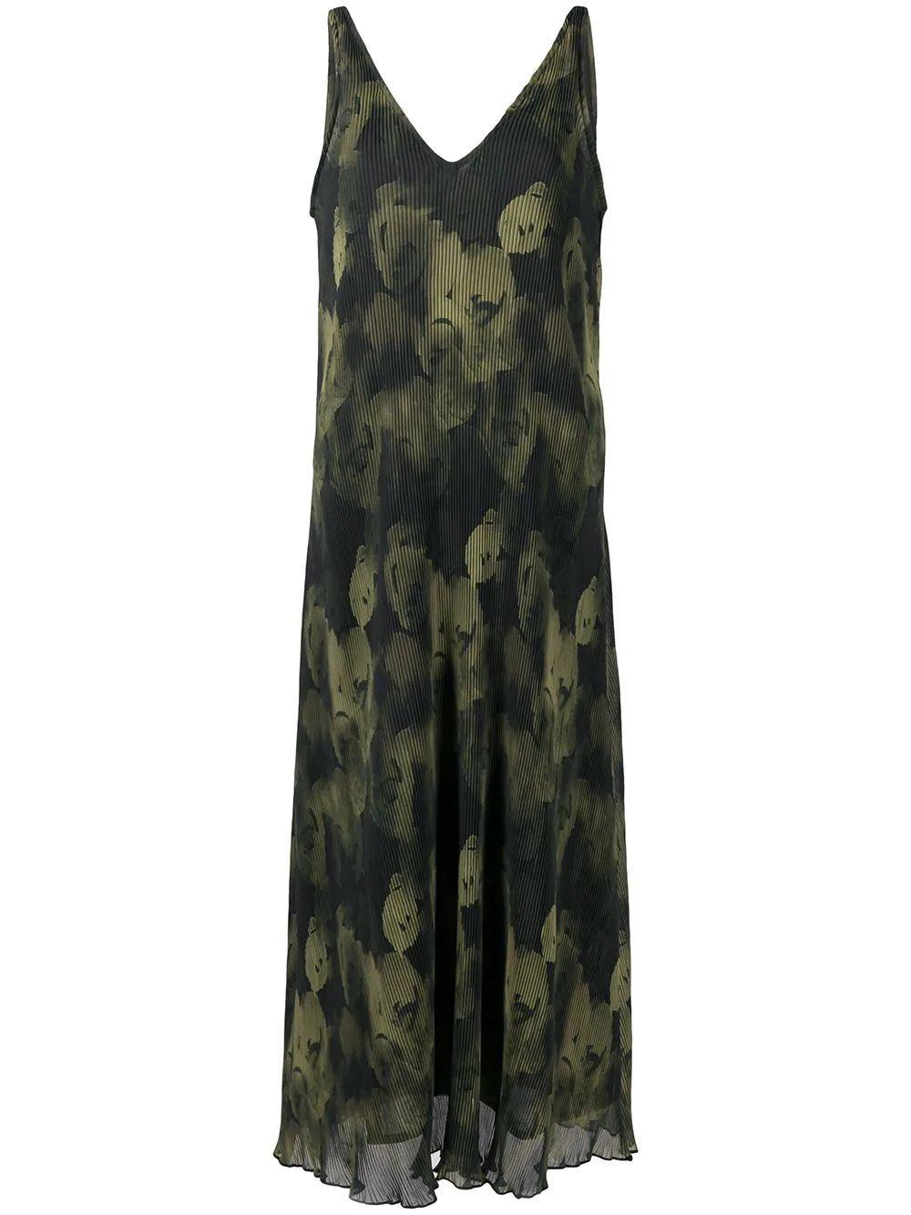 Pleated Sleeveless Midi-Dress