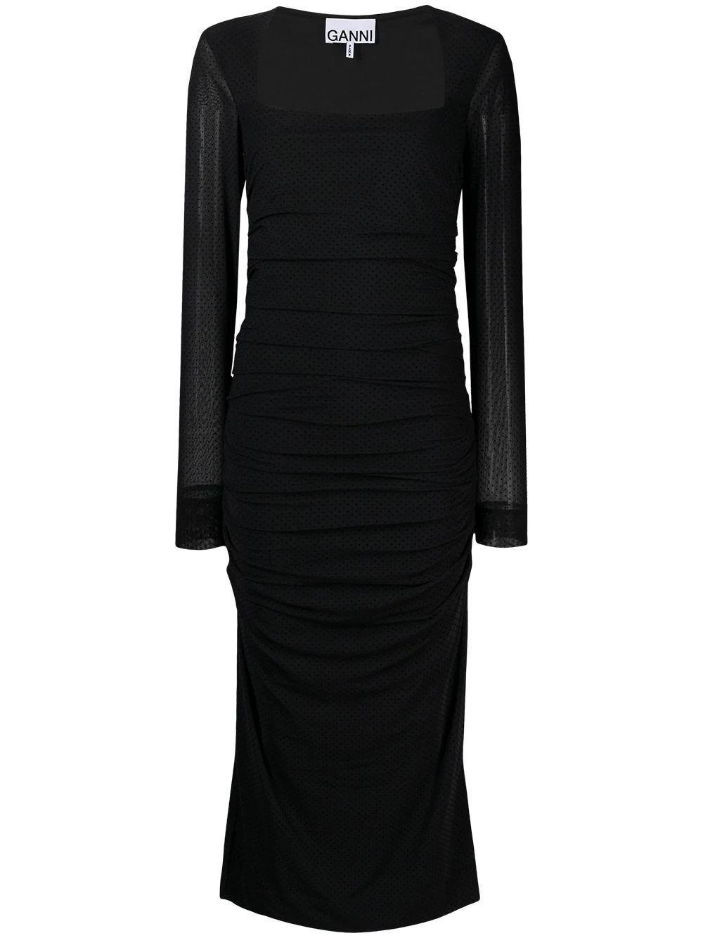 Dotted Mesh Midi Dress