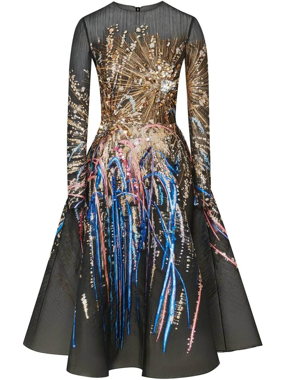 Long Sleeve Firework Dress Item # 20FE6033JFC