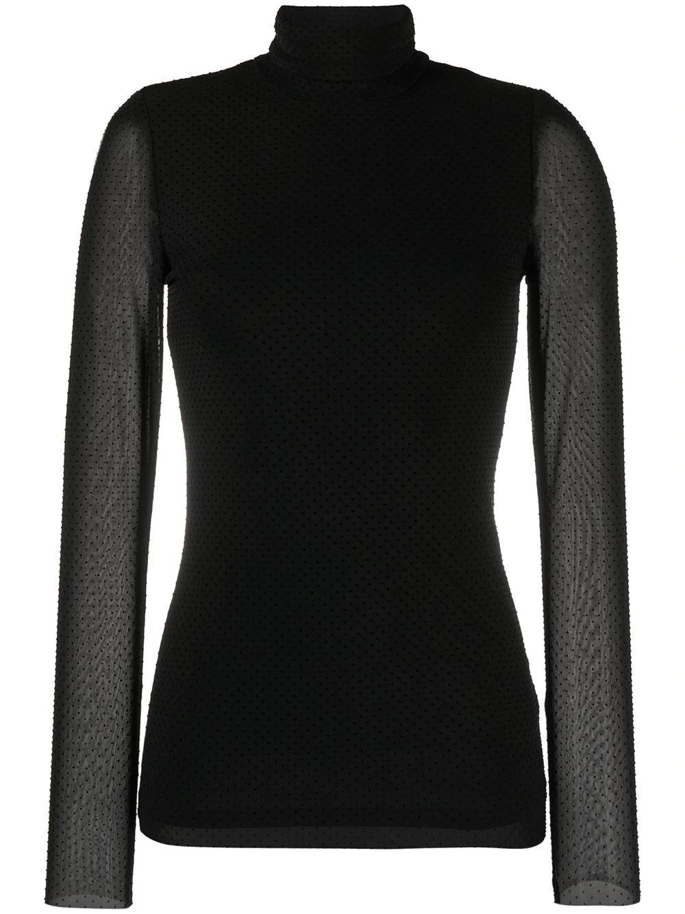 Dotted Mesh Turtleneck