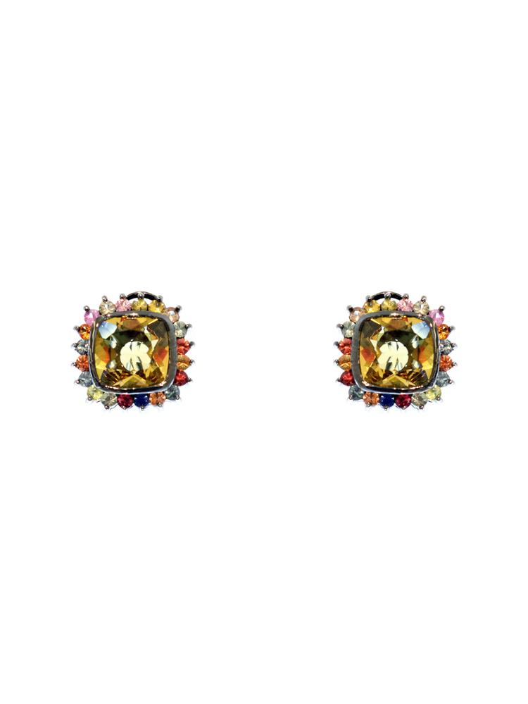 Square Dome Cut Crown Earring