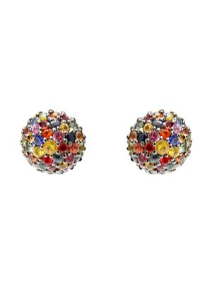 Medium Pave Half Ball Stud Earrings
