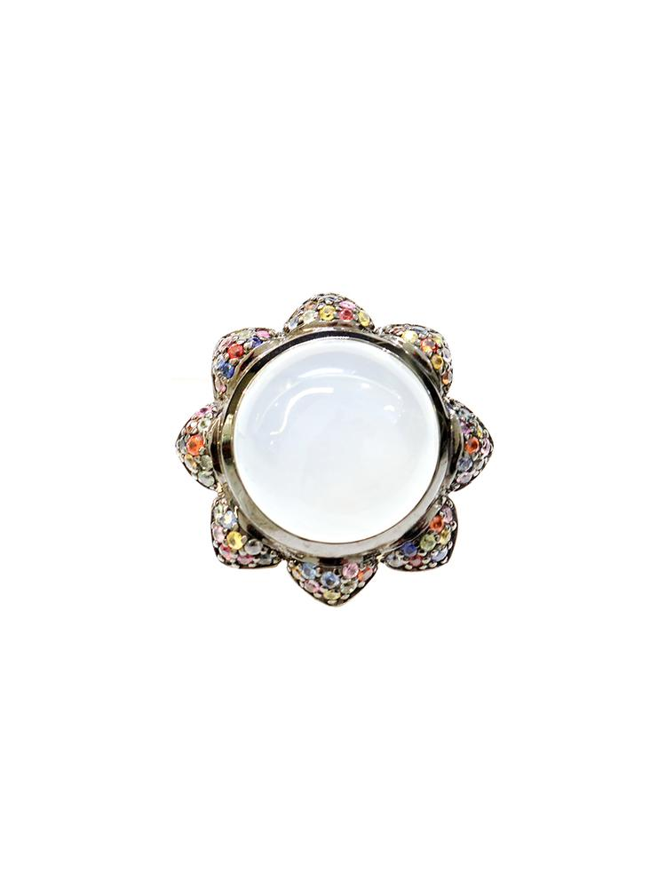 Cabochon Ring With Pave Petals