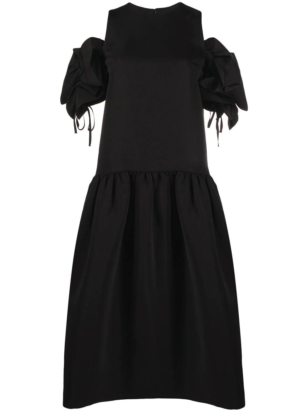 Drop Waist Dress With Ruffle Sleeves