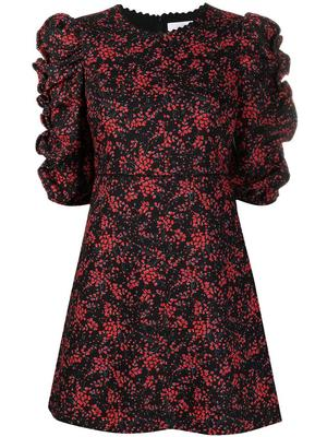 Floral Print Ruched Sleeve Dress