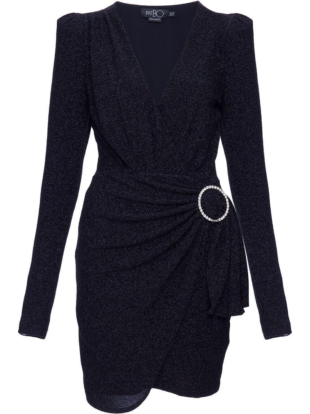Lurex Faux Wrap Mini Dress Item # VEC11646US