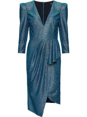 Metallic Fitted Midi Dress