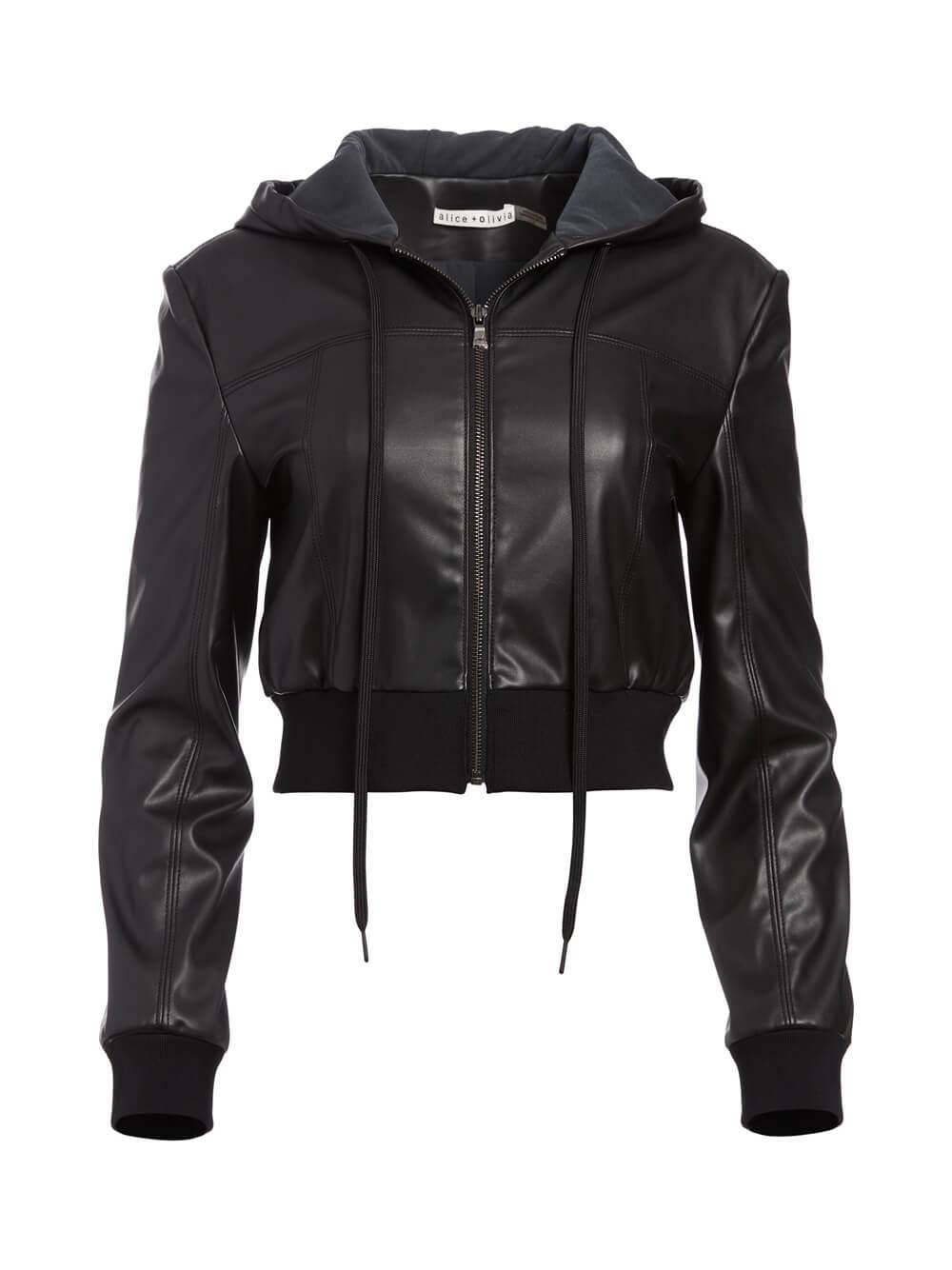 Paulie Vegan Leather Jacket With Hood Item # CC011J22206