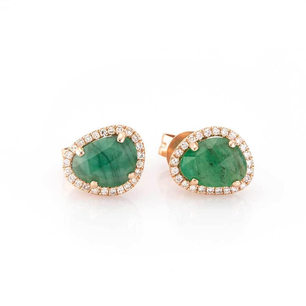 Raw Cut Emerald Studs