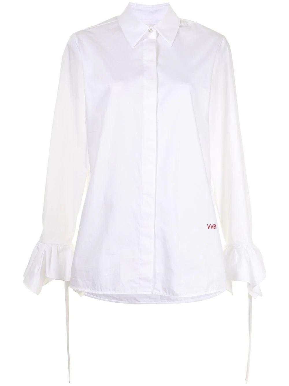 Flounce Cuff Cotton Shirt Item # 2121WSH002279A