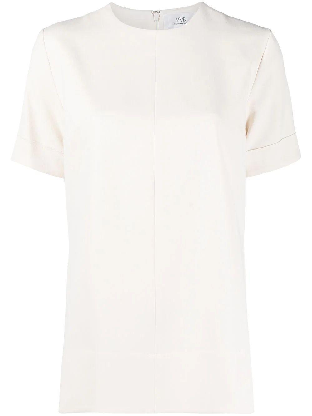 Crew-Neck Short Sleeve Blouse