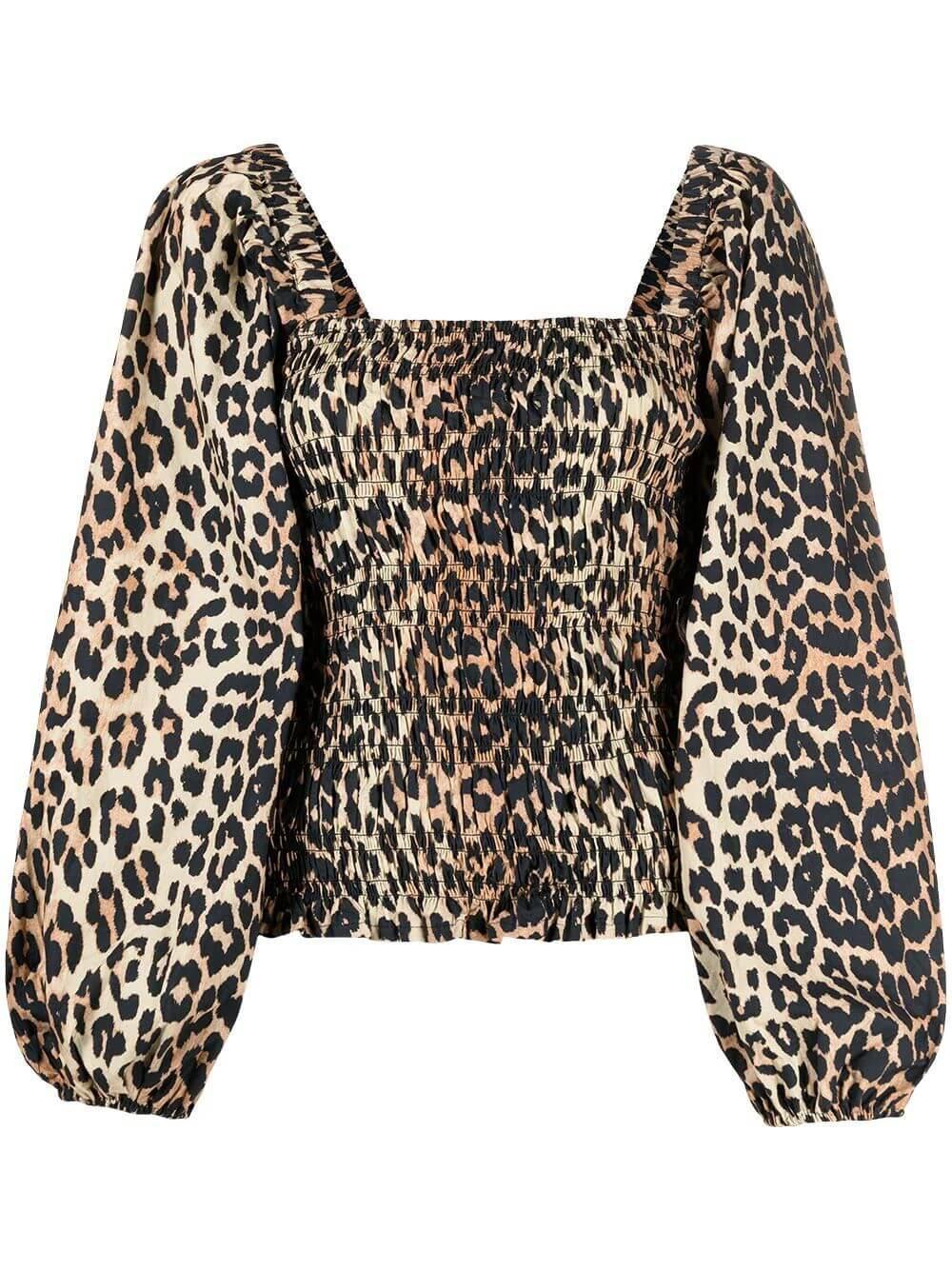 Leopard Poplin Top