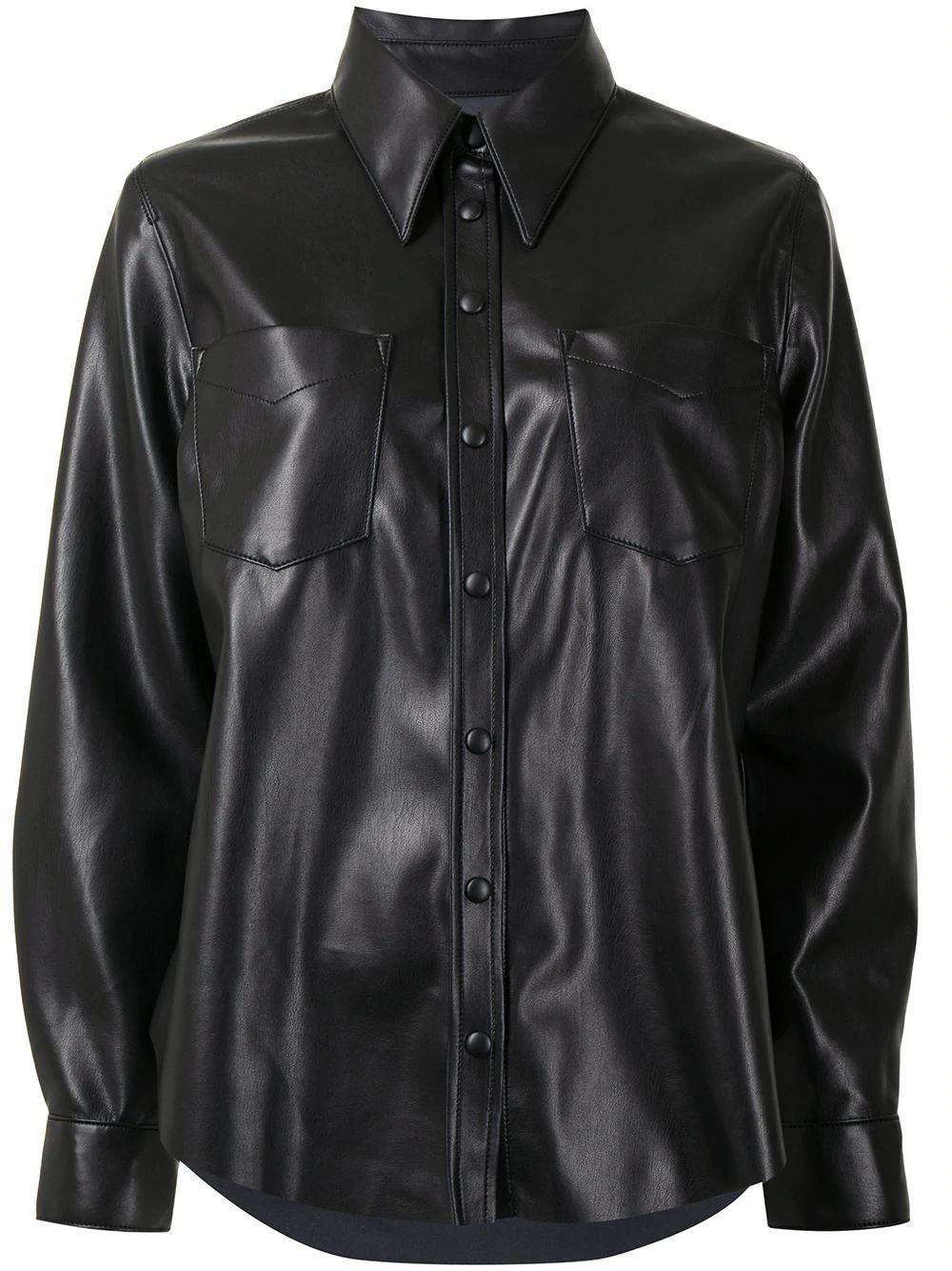 Paloma Faux- Leather Shirt Item # A7060-1287