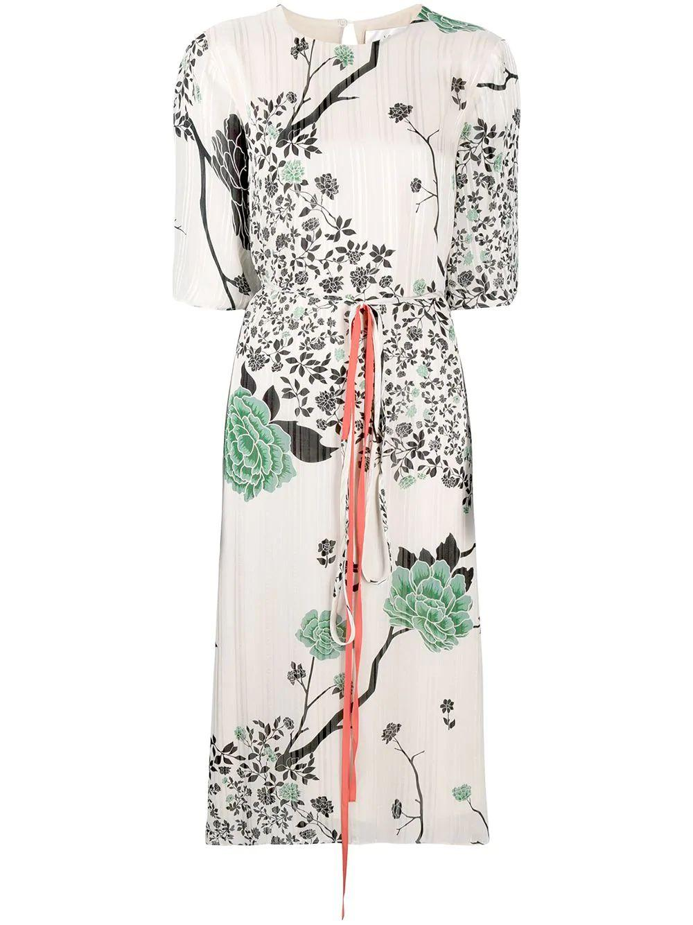 Printed Tie Front Dress Item # 2121WDR002250A