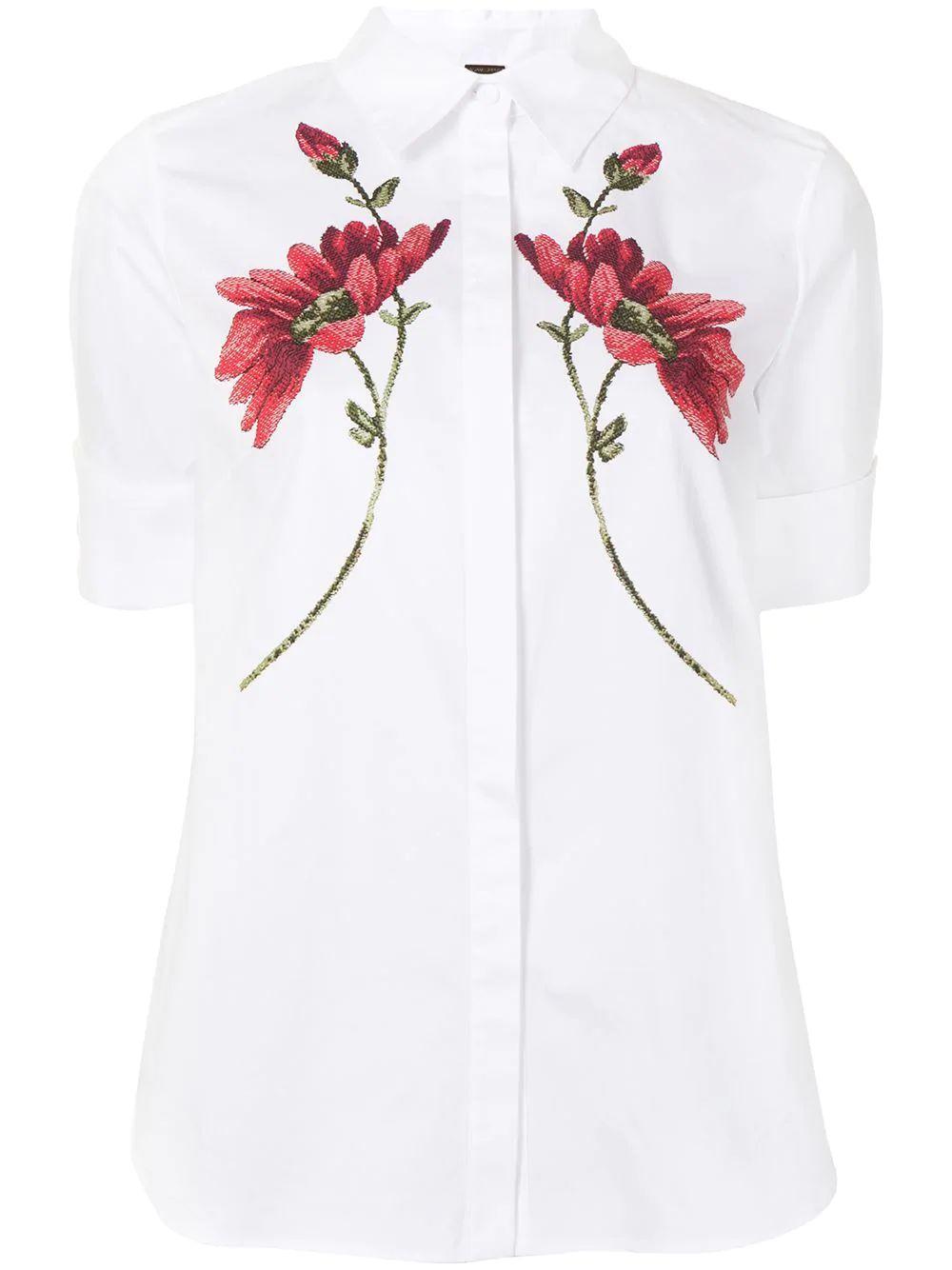 Floral Print Trapeze Shirt Item # R21102PP