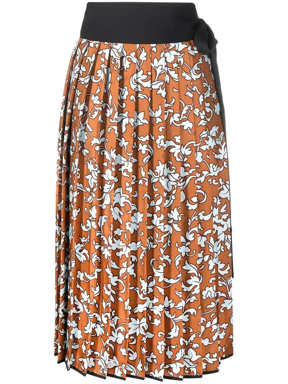 Baroque Printed Pleated Skirt