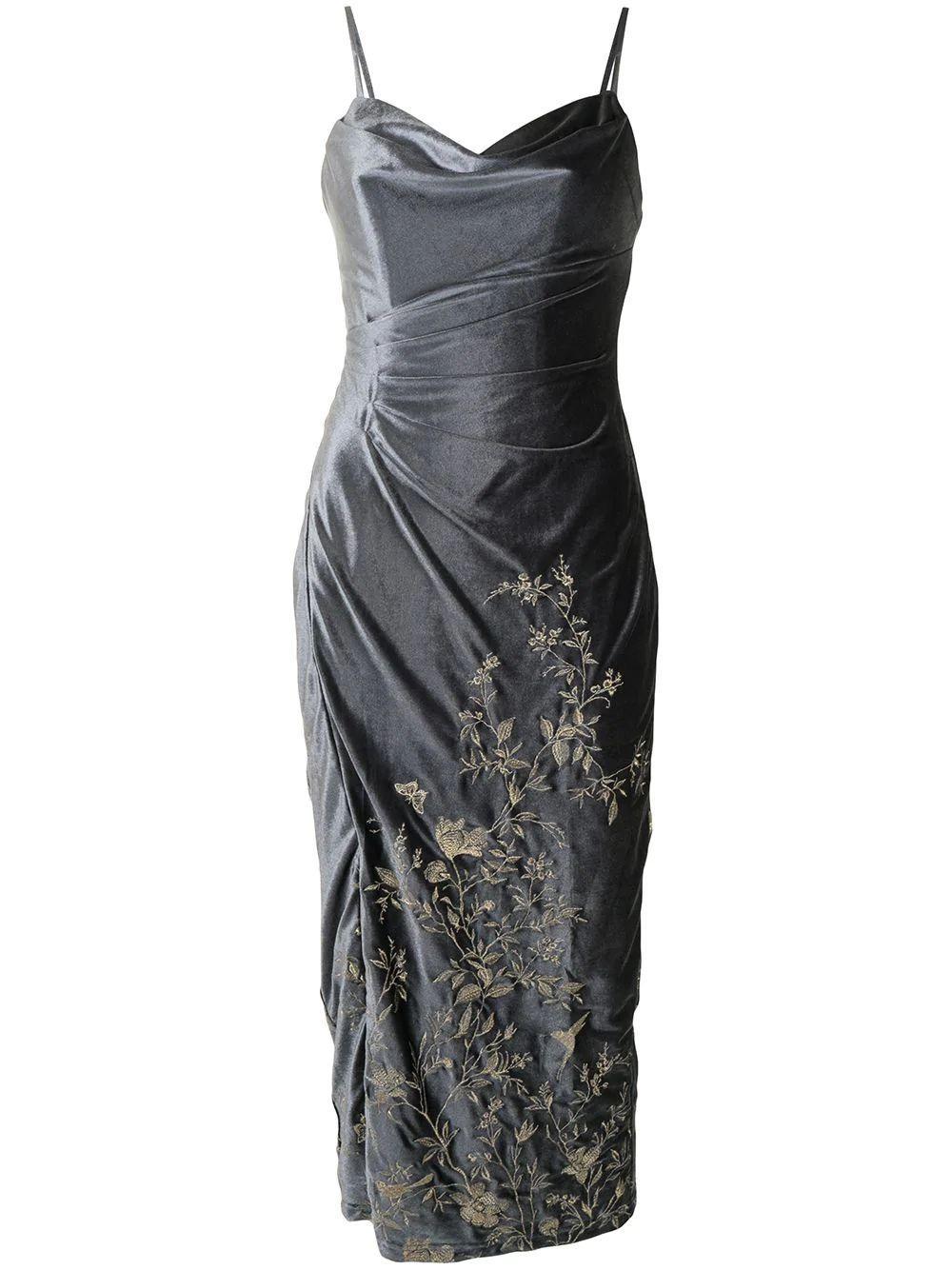 Embroidered Floral Velvet Dress Item # N43M2116-C