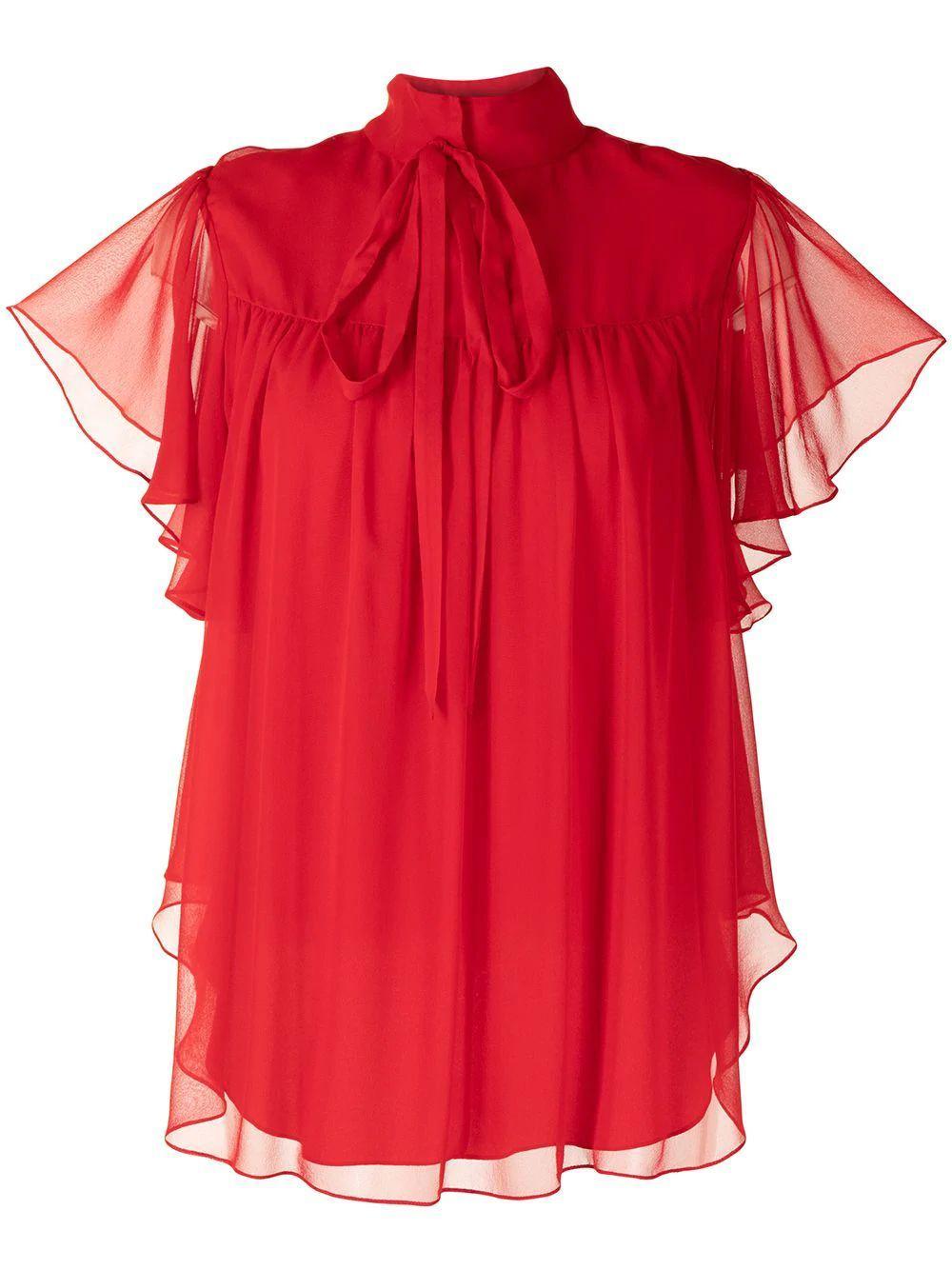 Silk Chiffon Flounce Sleeve Blouse Item # R21105CH