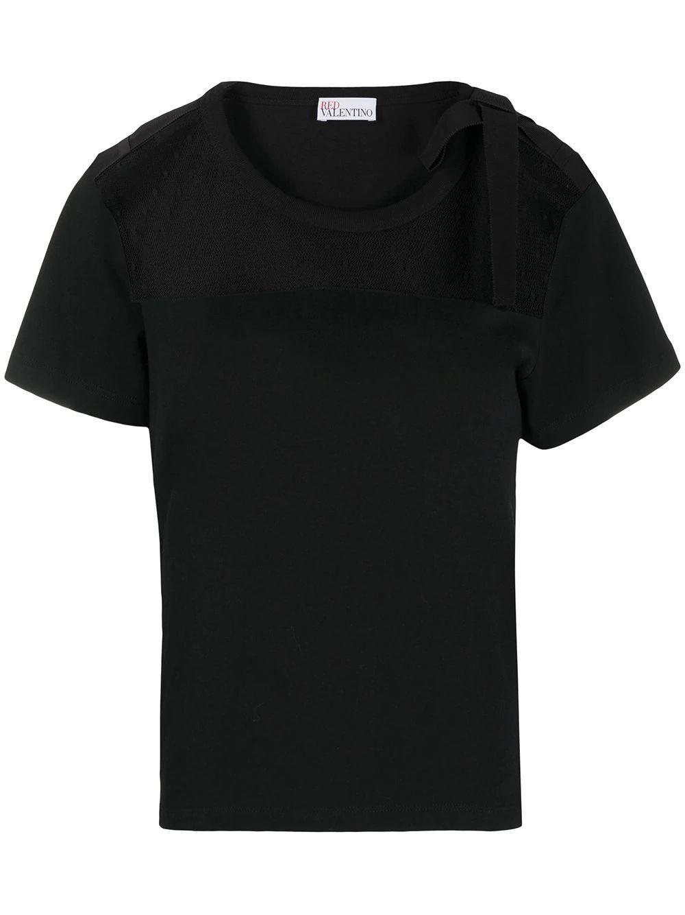 Swiss Dot Tulle-Panel T-Shirt