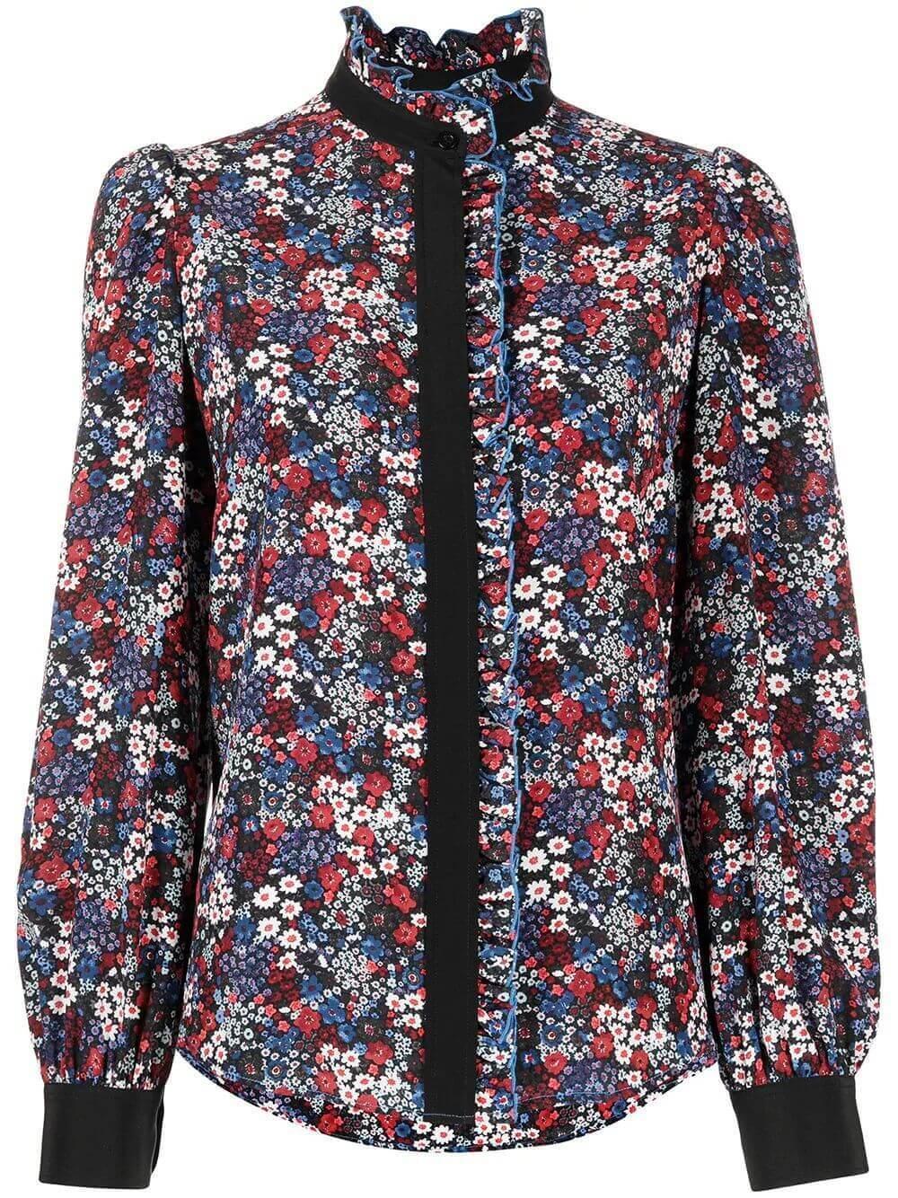 Floral Print Ruffle Neck Blouse Item # CHS21SHT08027