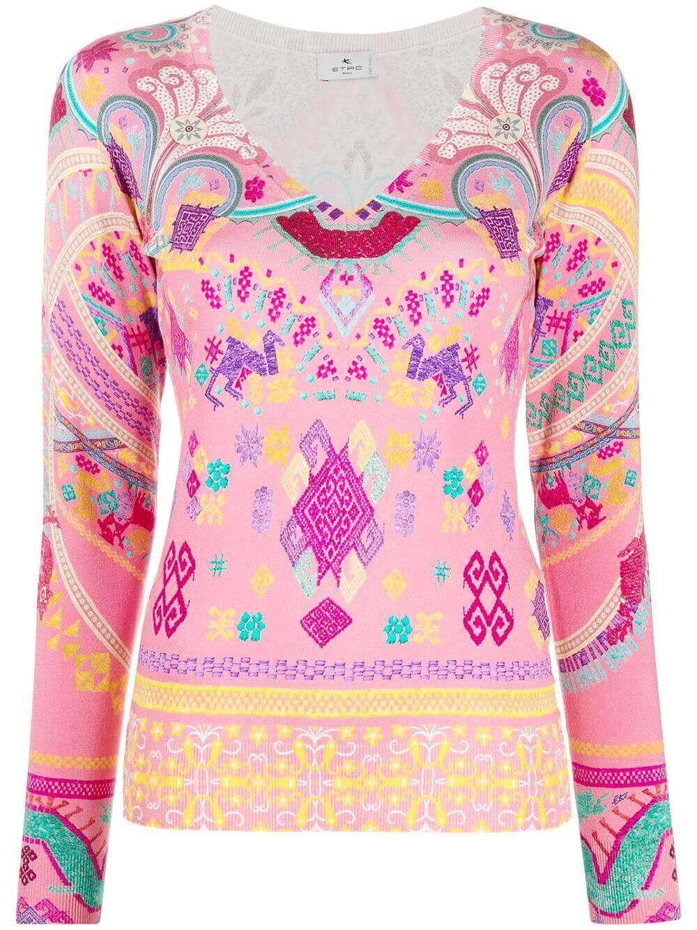 Printed V- Neck Sweater Item # 211D147169574