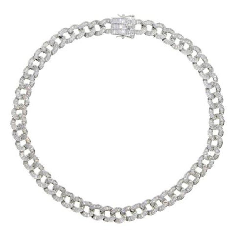 Baguette Curb Chain Collar Necklace Item # FN22314B