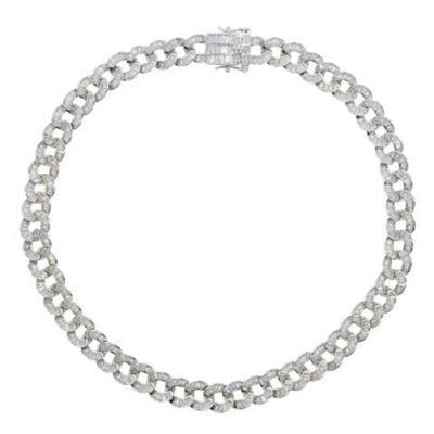 Baguette Curb Chain Collar Necklace