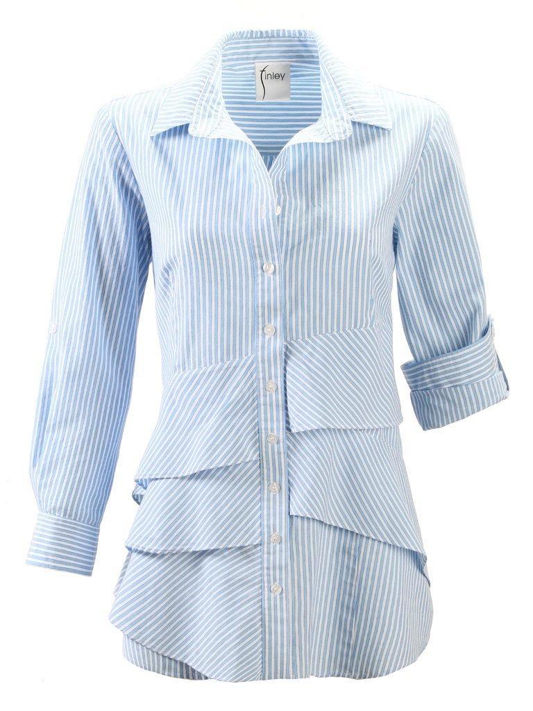 Jenna Ruffle Stripe Blouse Item # 3077040S