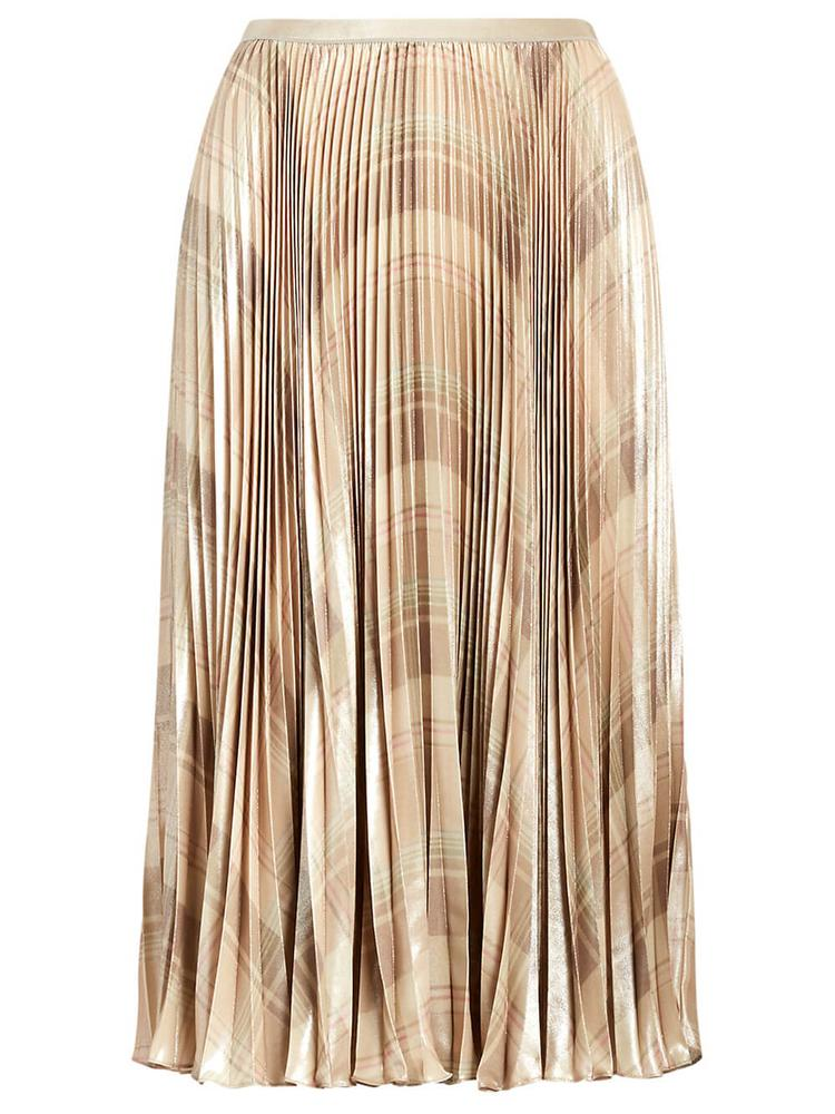 Metallic Plaid Pleated Skirt
