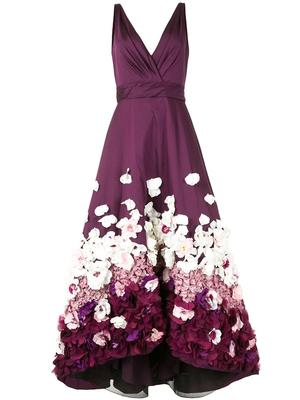 Floral Embellished High-Low Gown