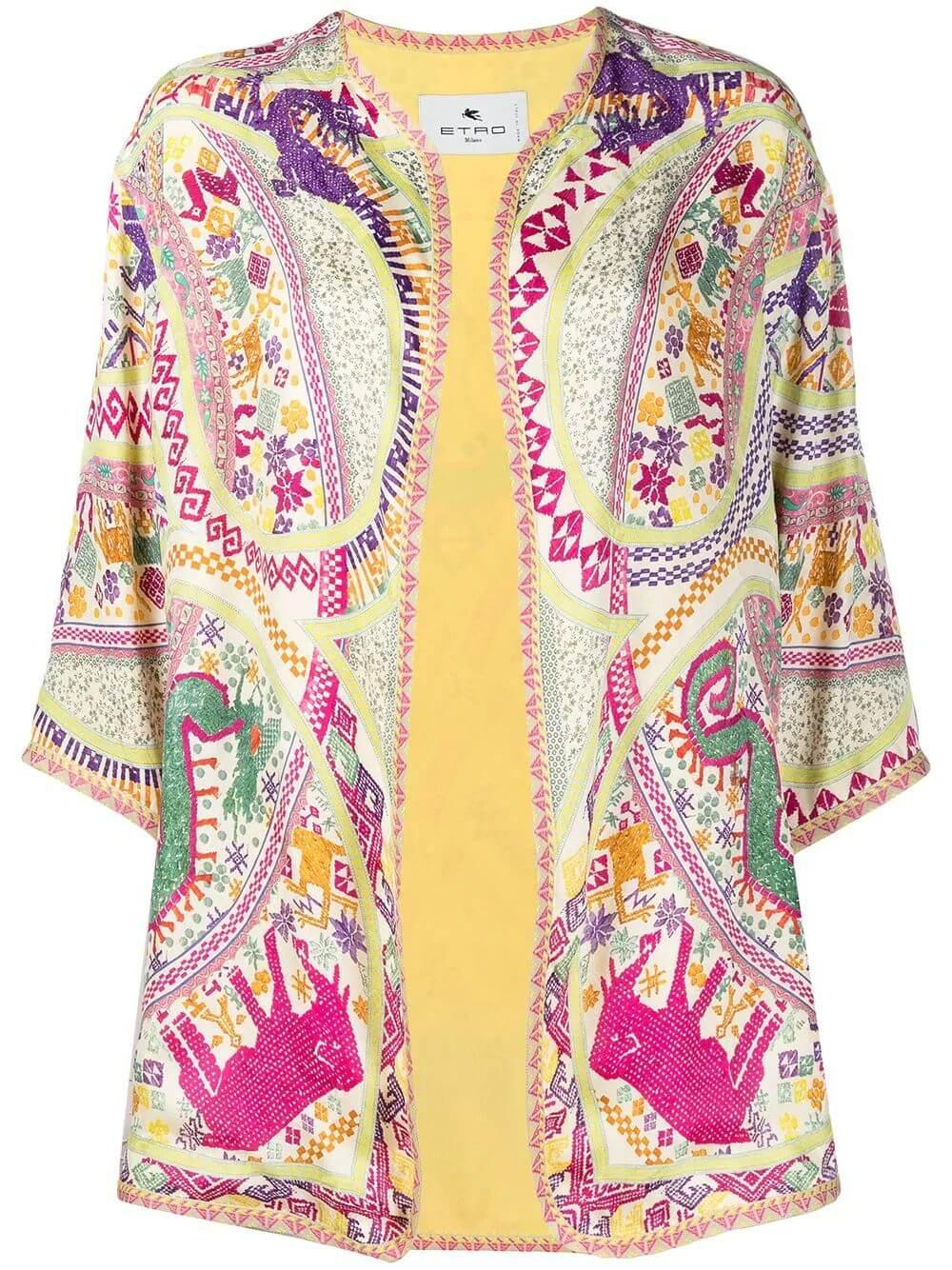 Printed Open Front Jacket Item # 211D140444273