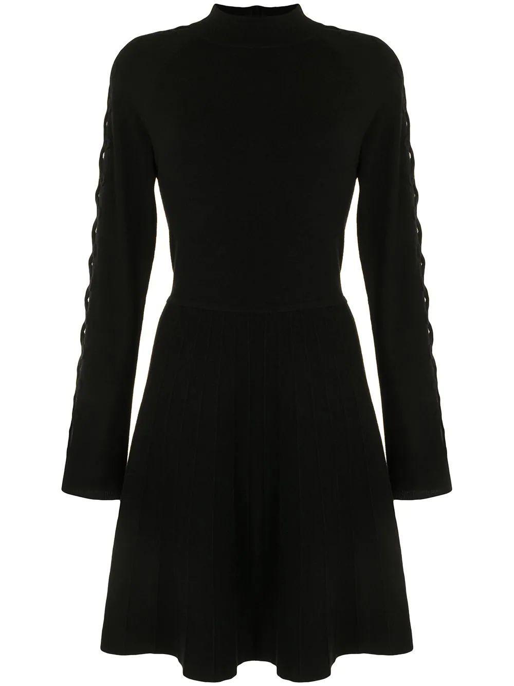 Lattice- Sleeve Knit Dress Item # F20KN3562