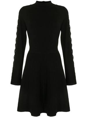 Lattice-Sleeve Knit Dress