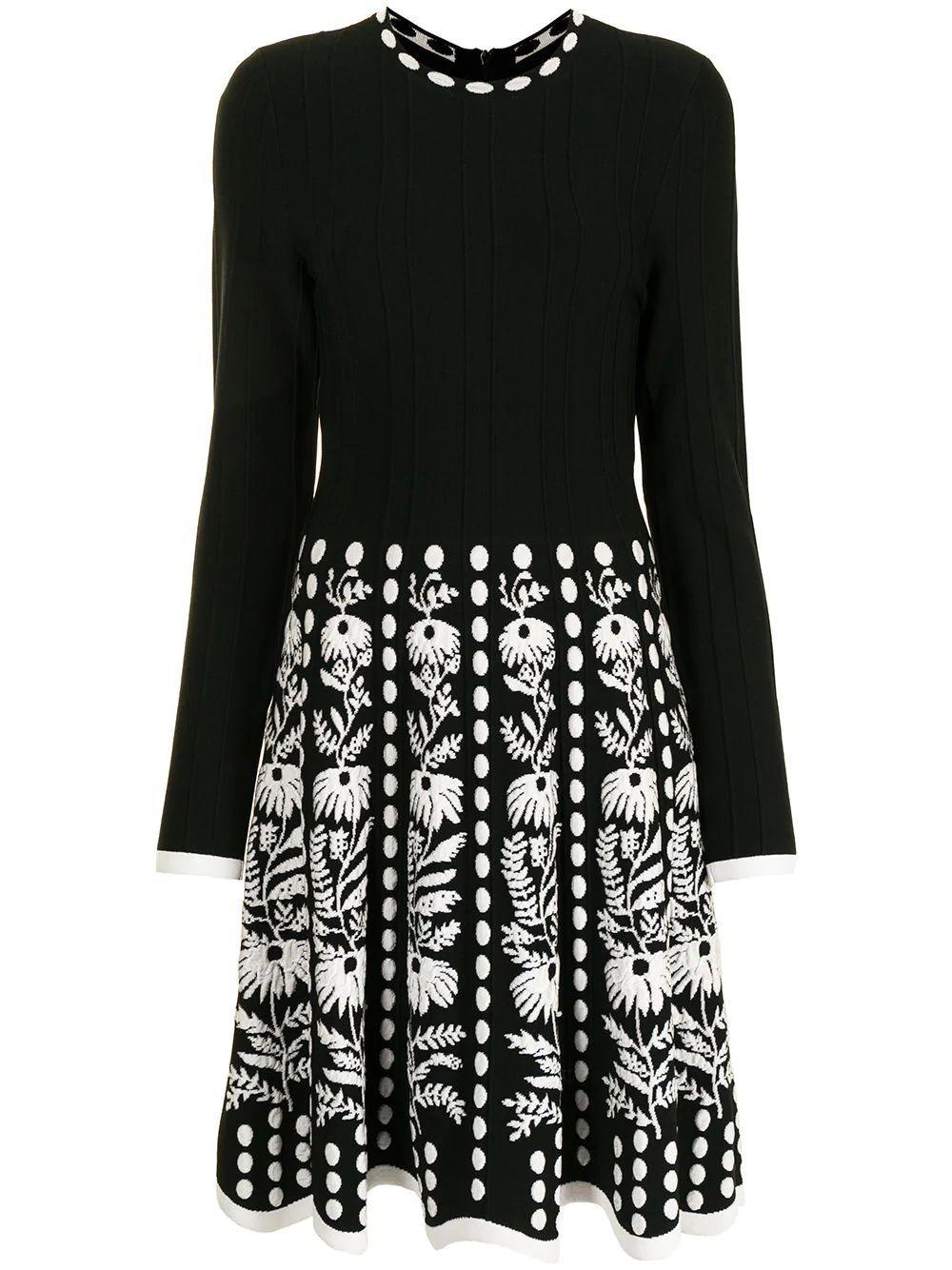 Floral Jacquard Knit Dress Item # F20KN3565
