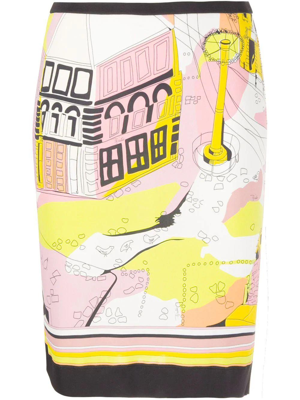 Battistero Print Slim Skirt