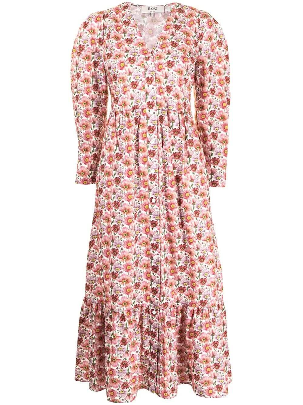 Leslie Floral Print Midi Dress
