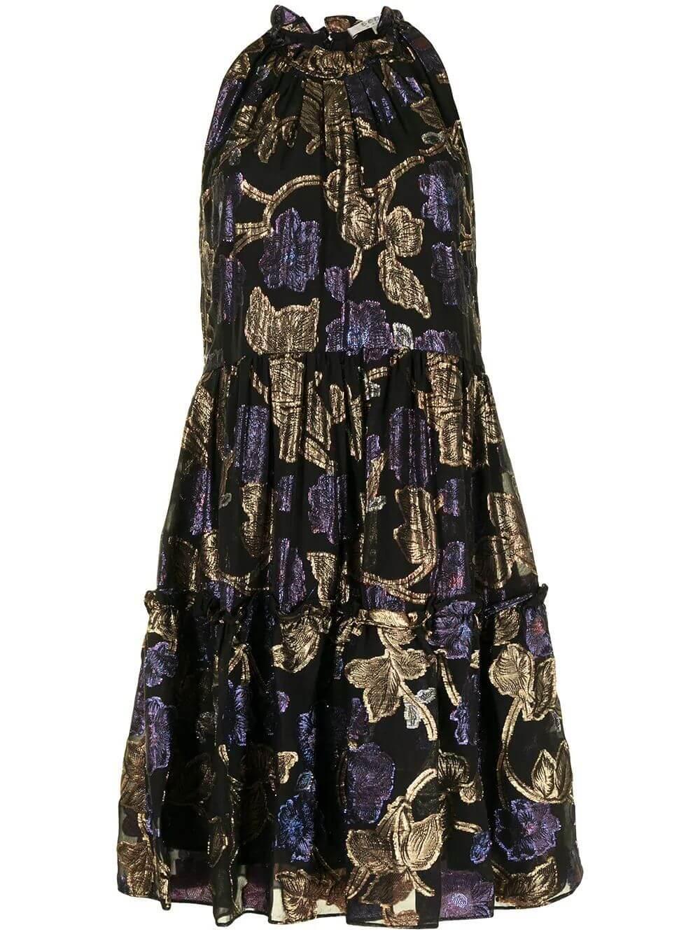 Lurex Halter Tunic Dress Item # RS21-16