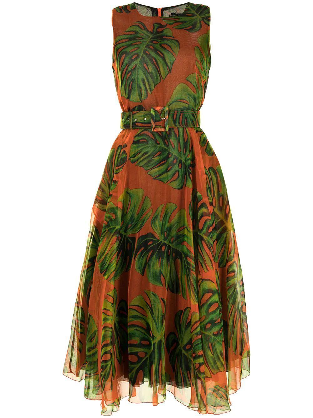 Aster Palm Print Midi Dress