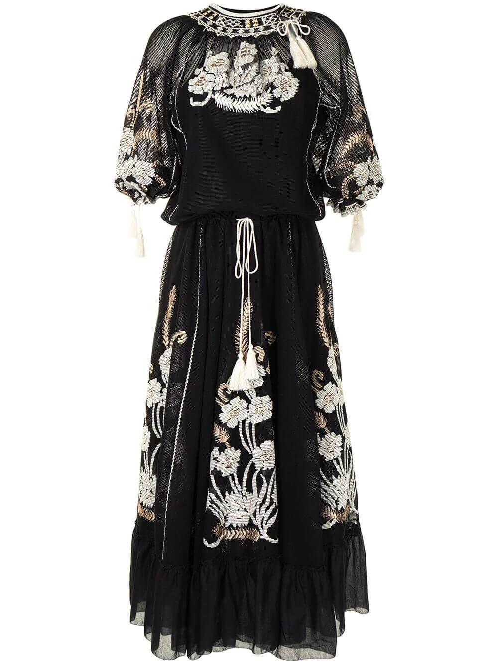 Embroidered Mesh Maxi Dress